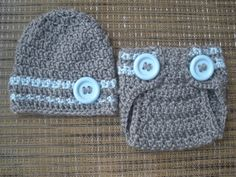 Baby Boy Grey Hat and Diaper Cover Set with Blue Stripes and Buttons, Newborn Boy Photo Prop, Custom Made to Order. $40.00, via Etsy.