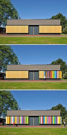 A Ljubjana, une maison dont la façade est peinte de places bicolores. On choisit son atmosphère colorée de l'intérieur comme de l'extérieur. La lumière, en passant sur ces stores, modifie l'ambiance intérieure.
