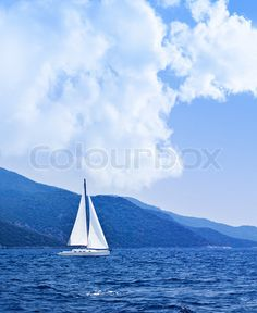 Stock image of 'Sailboat at open sea, beautiful nature background, blue color landscape, freedom concept'