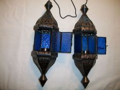 LOT of 2 BLUE Hanging Lantern Moroccan Style Lamp Candle w/chain hook attached #Unbranded #Moroccan