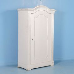 Antique 19th Century Single Door Armoire From Sweden Painted White