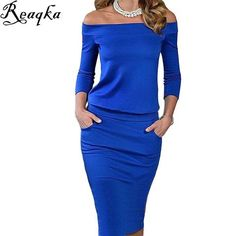 2016 New Style Summer Dress Three Quarter Sleeve Slash Neck Womens Sexy Fashion Dresses Casual Party Night Blue Black Club Dress