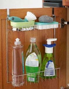 Utilise the space underneath your sink with this simple and cheap solution. Keep frequently used items such as dishwasher detergent, sponges, scrubbers and more in this quick access over-the-door wire organiser