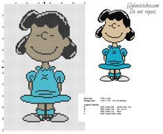 Lucy Peanuts character free cross stitch pattern - free cross stitch patterns by Alex