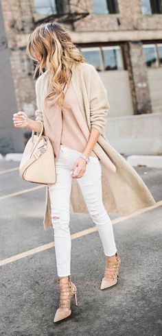 Nude, blush + white perfection. To get the look, pair your white jeans with nude lace-up heels, a blush blouse, nude coat, and a nude purse.