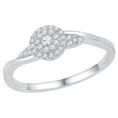 1/6 CT. T.W. Round Diamond Prong Set Promise Ring in 10K White Gold