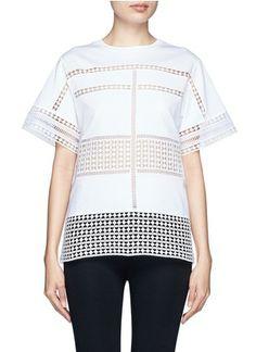 CHLOÉ - Diamond lace silk organza under layer T-shirt | White Blouses/Shirts Tops | Womenswear | Lane Crawford
