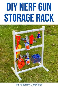 Make your own Nerf gun storage rack in minutes to keep all those blasters in one spot! Add a basket for those Nerf darts too! Nerf Gun Storage, Storage Rack, Nerf Darts, Nerf Toys, Make Your Own, How To Make, Outdoor Projects, Easy Diy, Basket