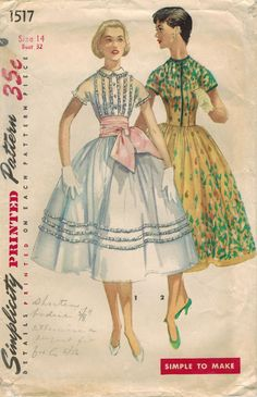 Simplicity No. 1517 Party Dress Pattern from 1956 with dart-fitted bodice, jewel neckline with optional collar, short French sleeves, and front button closing with optional band.