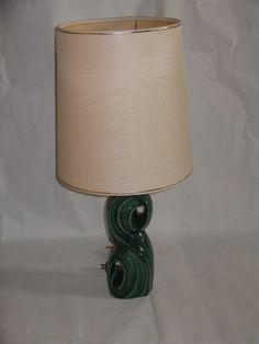 Mid Century Modern ceramic green lamp dark by AaronsArtichokeAlley