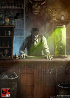 Shopkeeper illustration for lovecraftian themed boardgame Cthulhu: Rise of the Cults created by REDIMP GAMES by ortheza Cthulhu Art, Call Of Cthulhu Rpg, Lovecraft Cthulhu, High Fantasy, Dark Fantasy Art, Fantasy Artwork, Arte Horror, Horror Art, Character Art