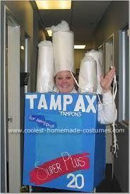 Homemade Tampax to the Max Super Plus Costume: w/o being to gross Bad Halloween Costumes, Most Creative Halloween Costumes, Funny Halloween Costumes, Holidays Halloween, Happy Halloween, Halloween Ideas, Costume Hire, Costume Ideas, Homemade Costumes