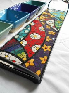 Mosaic Tray, Mosaic Glass, Mosaic Tiles, Mosaic Crafts, Mosaic Projects, Fused Glass Art, Stained Glass, Vitromosaico Ideas, Recycled Cds