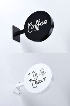 Coffee + icecream // shop signs coffee bars in kitchen, coffee cups, coffee Cafe Signage, Coffee Shop Signage, Coffee Shop Branding, Coffee Shop Logo, Store Signage, Cafe Branding, Design Shop, Coffee Shop Design, Cafe Design
