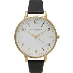 OLIVIA BURTON OB13WF01 Large White Dial gold-plated and leather watch (960 NOK) ❤ liked on Polyvore