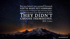"""But you haven't put yourself forward…"" http://www.eucatastrophe.com/?p=714 #Frodo #Bilbo #grace"