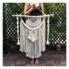 Macrame Wall Hanging Large on Driftwood with Weave Copper