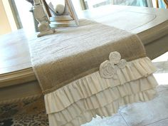 Plans to create..  Cottage+Chic++Burlap+Ruffled+Table+runner++with+by+ShabbieChicHome,+$49.00