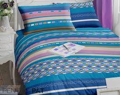 Lenjerie de pat bumbac ranforce in dungi cu forme geometrice