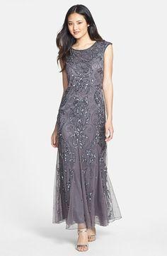 Downton Abbey Formal Dress -  Pisarro Nights Beaded A-Line Dress (Regular & Petite)