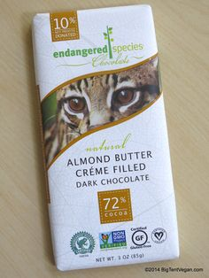 Almond Butter Créme Filled Dark Chocolate 72% by Endangered Species # ...