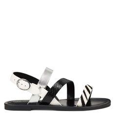 Cloie Flat Sandals Open Toe Sandals, Flat Sandals, Flats, M Color, Low Heels, Nine West, Black And White, Shoes, Products