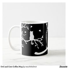 Shop Owl and Cats Coffee Mug created by reachthelimit. Cat Coffee Mug, Photo Mugs, Create Your Own, Owl, Ceramics, Make It Yourself, Cats, Tableware, How To Make