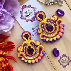 Fabric Earrings, Soutache Earrings, Fabric Jewelry, Diy Earrings, Wire Jewelry, Earrings Handmade, Jewellery, Washer Necklace, Jewelry Making