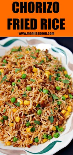 Don't throw away your left-over rice and make this easy and tasty Chorizo Fried Rice. Simply add a few drops of hot sauce to give it a spicy kick! | manilaspoon.com