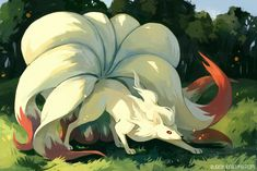 e621 ambiguous_gender ass_up black_nose bluekomadori canine cloud cream_fur day digitigrade feral fox fur grass hi_res hindpaw leaf long_mouth looking_up mammal multiple_tails ninetales nintendo no_sclera orange_fur outside paws pokémon red_eyes shadow sky snout solo standing tree video_games white_pupils