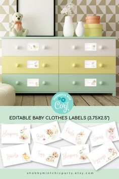 Keep your baby's nursery organized with these editable baby drawer labels with cute watercolor animals. There are 8 designs on one page, and you can duplicate the page to create more labels. You can print these out on sticker paper and stick them to the drawer, punch holes and tread string through it to hang onto baskets, or use clothespins to attach to baskets or cubes. #nurseryorganization #cutebabyclotheslabel #babylabels #clotheslabel #nursery decor #animalnursery #farmanimallabels Gifts For New Moms, New Baby Gifts, Girl Gifts, Baby Nursery Organization, Home Organization, Baby Drawer, Pink Office Decor, Drawer Labels, Nursery Inspiration