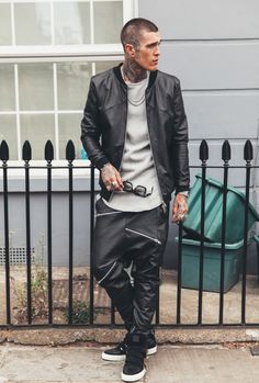 Leather drop crotch pants with zipper embellishments //