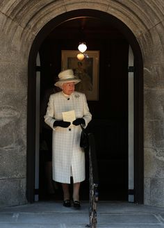 Her Majesty Queen Elizabeth II exits Crathie Kirk Church in Crathie, Aberdeenshire where she attended a service of commemoration to mark the First World War