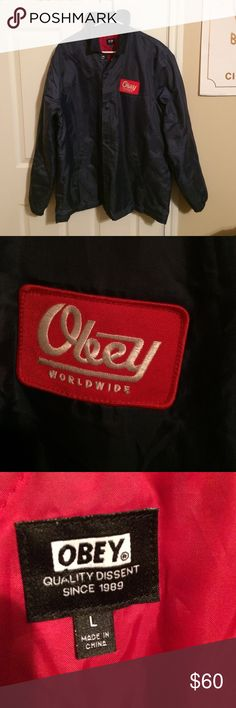 A Large Navy Blue OBEY Windbreaker Worn once or twice great condition. You'll Find yourself Still warm while wearing this jacket in 30 degree weather. Can't pass it up! Obey Jackets & Coats Windbreakers