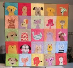 Marsha's Pets Quilt - made with patterns from Shiny Happy World