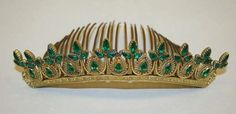 Antique Tiara-Comb, France (ca. 1830; brass, glass). www.metmuseum.org.