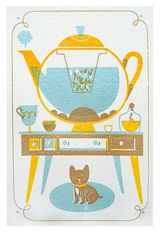 Argentinian illustrator, Sol Linero, and I seem to share a passion for both tea and mid-century design. Aren't her prints divine? {Images by Sol Linero} Pug, Tea Illustration, Japanese Tea Ceremony, Cuppa Tea, Tea Art, Thing 1, My Cup Of Tea, Food Illustrations, Silkscreen