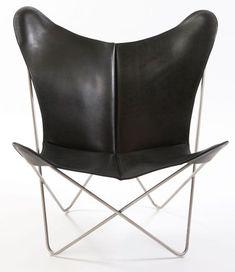 OxDenmarq Armchair Trifolium - Stainless Steel Frame - Leather - Black |  https://designonline24.nl