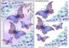 Pretty chrysanthemums in lilac pink with butterflies on Craftsuprint - Add To Basket!