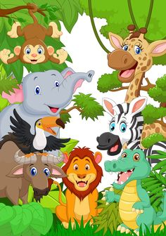 Find cartoon jungle animal character stock images in HD and millions of other royalty-free stock photos, illustrations and vectors in the Shutterstock collection. Cartoon Jungle Animals, Zoo Animals, Cute Baby Animals, Safari Party, Safari Theme, Jungle Safari, Animal Paintings, Animal Drawings, Jungle Theme Birthday