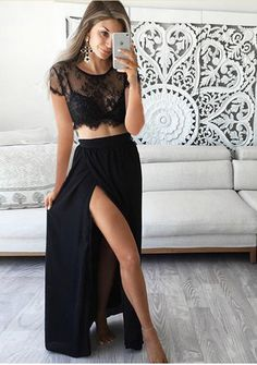 Two Pieces Short Sleeve Sexy Side Slit Black Lace Long Prom Dresses acafb352ac76