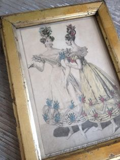 Antique Colored Engraving - 1800s FleaingFrance Brocante Society