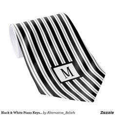 Shop Black & White Piano Keys Stripes Monogram Necktie created by Alternative_Beliefs. White Piano, Stylish Suit, Suit Accessories, Piano Keys, Personalized Note Cards, Custom Ties, Neckties, Unique Image, Diamond Shapes