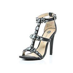 Black gem embellished barely there heels - heels - shoes / boots - women