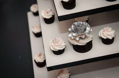 Intrigued by this silver flowered cupcake from Bite Me Bakery
