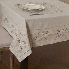 BO Floral Hemstitch Square Linen Table Cloth , x *** You can find out more details at the link of the image. Herb Embroidery, Embroidery Stitches, Embroidery Patterns, Linen Tablecloth, Table Linens, Tablecloths, Table Runner And Placemats, Flower Background Wallpaper, Square
