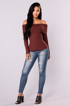 21dc27da045932 Dena Off Shoulder Sweater Top - Red Brown Winter Tops
