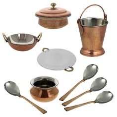 ShalinIndia Indian Centerpiece Copper Tableware Tava Karahi Handi Donga Balti Spoons Set Brown *** Click image for more details.