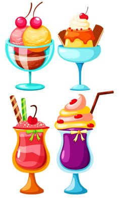 Cream Candy, Cute Illustration, Watercolor Illustration, Food Drawing, Ice Cream Party, Food Clipart, Cupcake Clipart, Cute Drawings, Candy Cakes