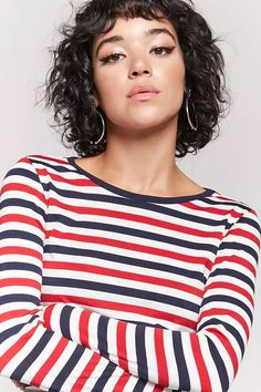 Product Name:Stripe Long Sleeve Top, Category:top_blouses, Price:12.9
